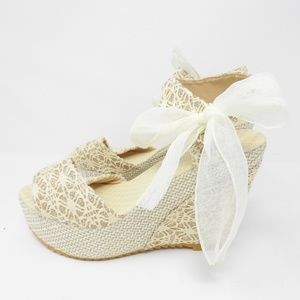 Shoes - Glitter Tan Cream Wedge Sandals  NWOT